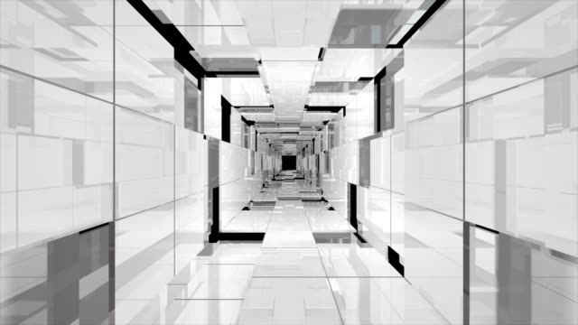 futuristic tunnel of glass, long corridor with glass floor and transparent walls. - partiell lichtdurchlässig stock-videos und b-roll-filmmaterial
