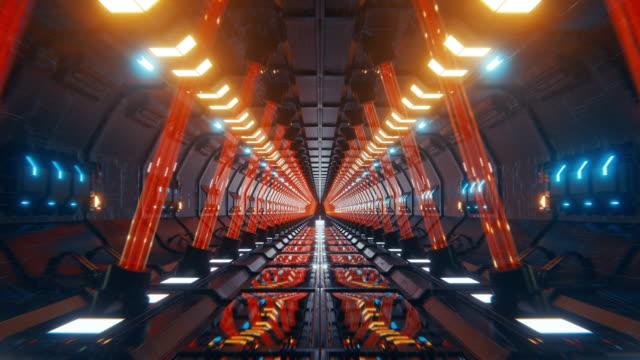 futuristischer tunnel mit gelben pfeilen und roten lasern. - unendlichkeit stock-videos und b-roll-filmmaterial
