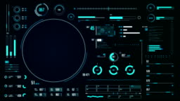 Futuristic user interface with HUD and infographic elements.