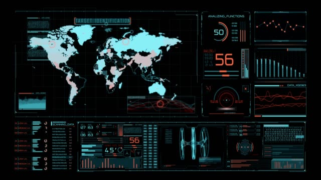 vídeos de stock e filmes b-roll de futuristic user interface with hud and infographic elements. - ecrã tátil