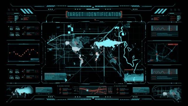 hud とインフォグラフィック要素を備えた未来的なユーザーインターフェース。 - 電波探知機点の映像素材/bロール