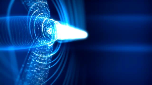 vídeos y material grabado en eventos de stock de turbina eólica futurista 3d loopable renderizado con senderos - turbina