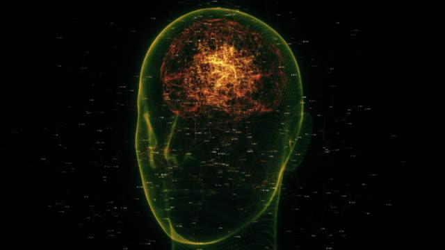 stockvideo's en b-roll-footage met futuristisch draadframe hoofd met neuron - cerebellum