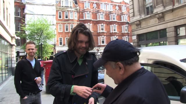 fyfe dangerfield of the guillemots leaves bbc radio 2 and signs for fans sighted: fyfe dangerfield at bbc radio two on april 18, 2011 in london,... - bbc radio stock videos & royalty-free footage
