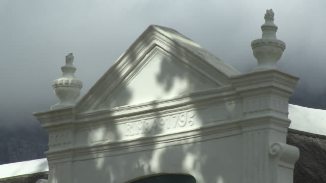 cu gable of le rhone homestead, franschhoek, western cape, south africa - gable stock videos & royalty-free footage