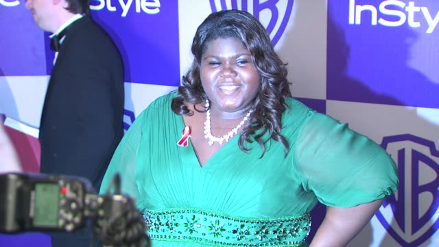 vídeos y material grabado en eventos de stock de gabourey sidibe at the warner bros and instyle golden globe afterparty at beverly hills ca - warner bros
