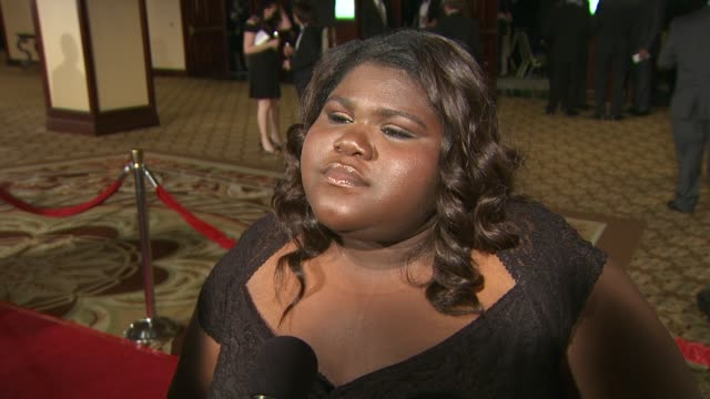 vídeos de stock e filmes b-roll de gabourey sidibe on working with a gifted director like lee daniels on if she knew 'precious' would be a great success when they were making it and on... - director's guild of america