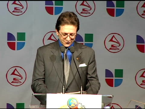 gabriel abaroa, president of the latin recording academy, on introducing the presenters for this year's latin grammy awards at the 2005 latin grammy... - latin grammy awards stock videos & royalty-free footage