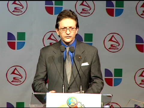 gabriel abaroa, president of the latin recording academy, on the artists invited to produce this year's official latin grammy artwork at the 2005... - latin grammy awards stock videos & royalty-free footage