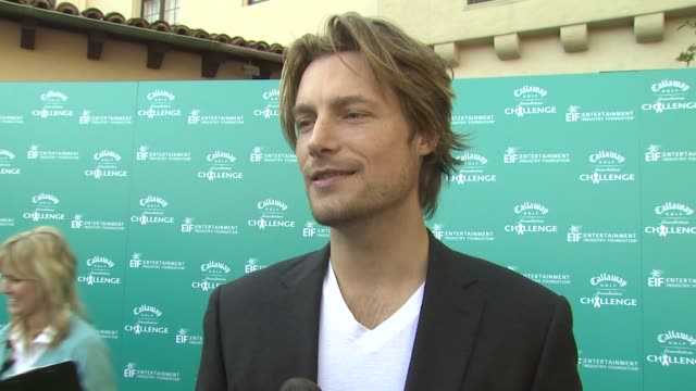 vídeos y material grabado en eventos de stock de gabriel aubry on being involved in today's event on when he started playing golf on the best and worst part of his golf game and on being involved in... - gabriel aubry