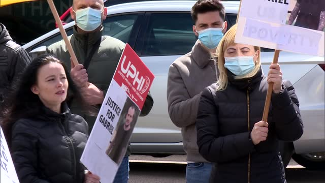 gabriel bringye murder: private hire drivers protest outside bolt offices over safety fears; england: london: int mara fazecas interview sot,... - crime and murder stock videos & royalty-free footage