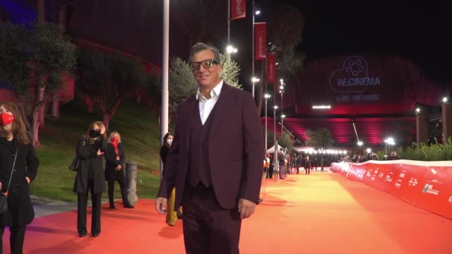 """gabriele muccino arrives on the red carpet ahead of the """"open your eyes"""" screening during the 15th rome film fest on october 18, 2020 in rome, italy. - rome film festival stock videos & royalty-free footage"""