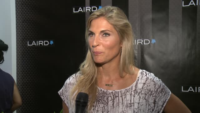 interview gabrielle reece on how she would describe laird apparel on what it was like seeing the line come to life from inception on what she thinks... - gabrielle reece stock videos and b-roll footage
