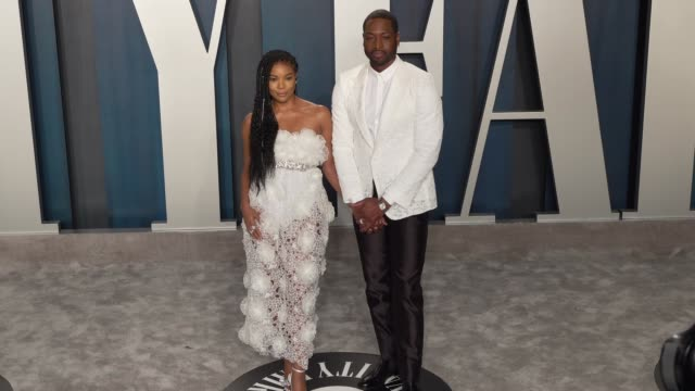 gabrielle union and dwyane wade at vanity fair oscar party at wallis annenberg center for the performing arts on february 9 2020 in beverly hills... - vanity fair video stock e b–roll