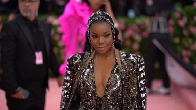 gabrielle union at the 2019 met gala celebrating camp notes on fashion arrivals at metropolitan museum of art on may 06 2019 in new york city - met gala 2019 stock videos and b-roll footage