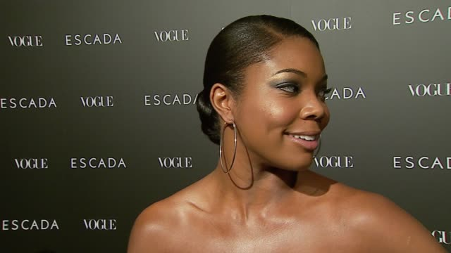 gabrielle union on her escada dress, on escada clothes and on why it's exciting that the new store is opening at the the grand opening of the beverly... - escada stock-videos und b-roll-filmmaterial