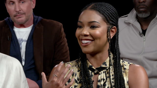 """gabrielle union talks about her character in the movie at """"the public"""" press day at the whitby hotel on april 01, 2019 in new york city. - emilio estévez video stock e b–roll"""
