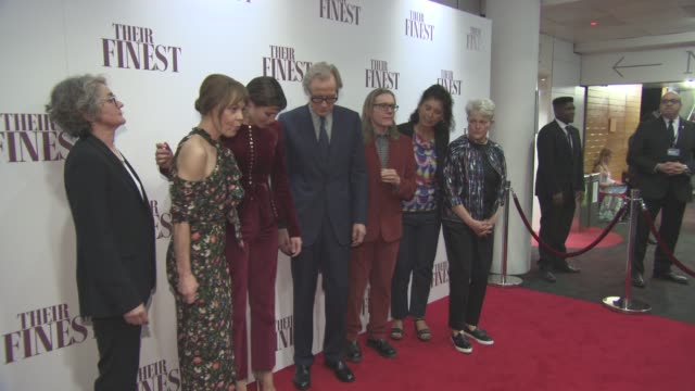 gaby chiappe, helen mccrory, gemma arterton, bill nighy, stephen woolley, amanda posey, lissa evans at 'their finest' - premiere at bfi southbank on... - bfi southbank stock videos & royalty-free footage