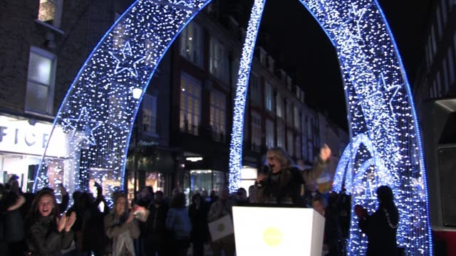gaby roslin turns on south molton street christmas lights. south molton street lights at south molton street on november 16, 2010 in london, england - gaby roslin stock videos & royalty-free footage