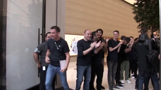 gadget fans have queued overnight outside an apple retail store in central london to ensure they are among the first to get their hands on the new... - apple store stock videos & royalty-free footage
