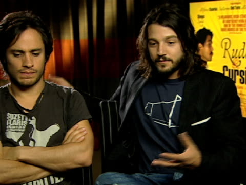 Gael Garcia Bernal and Diego Luna on getting involved and how much risk they took to be in it at the Rudo and Cursi Interviews at London England