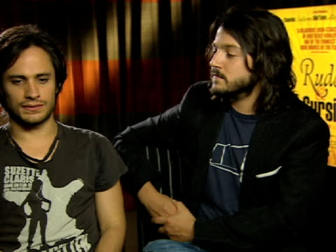 Gael Garcia Bernal and Diego Luna on how they stayed in character off set and how they would cause comedy on set at the Rudo and Cursi Interviews at...