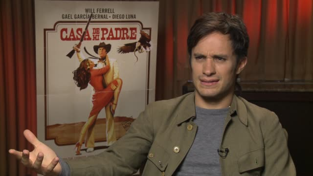 gael garcia bernal on being a will farrell fan describes his character in the film as a mystical caricature of a drug lord at casa de mi padre new... - padre bildbanksvideor och videomaterial från bakom kulisserna