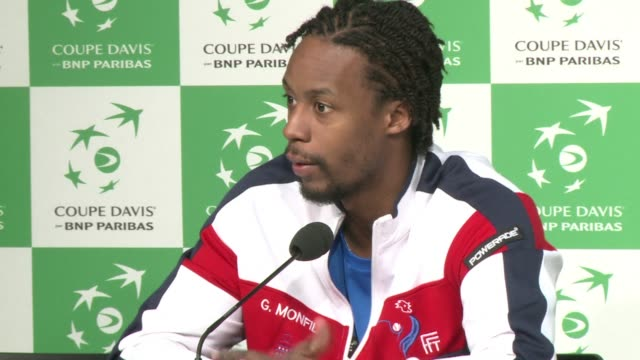 stockvideo's en b-roll-footage met gael monfils rates his 61 64 63 demolition of roger federer in the davis cup final as one the three biggest matches he had played in during his career - sportkampioenschap