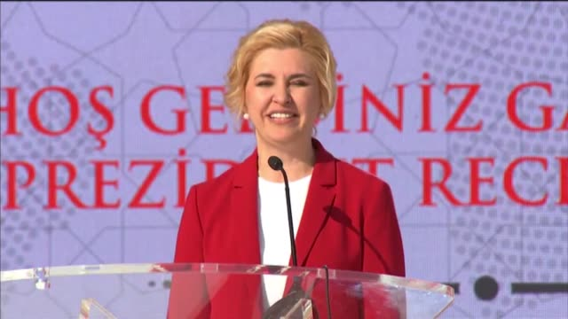 gagauzia governor irina vlah addresses gagauz turks during a gathering which is also attended by turkish president recep tayyip erdogan his wife... - moldova stock videos and b-roll footage