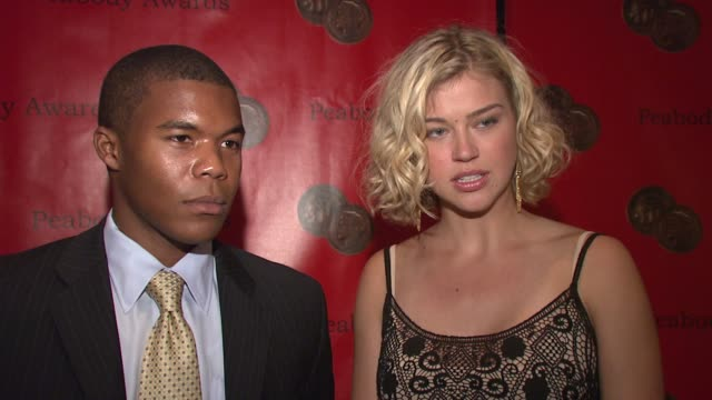gaius charles and adrianne palicki on winning the peabody and why they felt the show won at the 66th annual peabody awards press room at waldorf... - adrianne palicki stock videos and b-roll footage