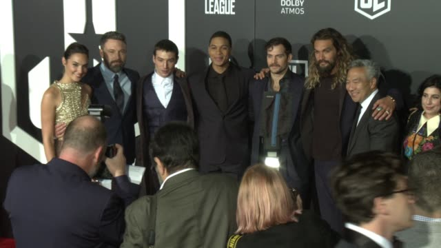 Gal Gadot Ben Affleck Ezra Miller Ray Fisher Henry Cavill and Jason Momoa at the Justice League World Premiere at Dolby Theatre on November 13 2017...