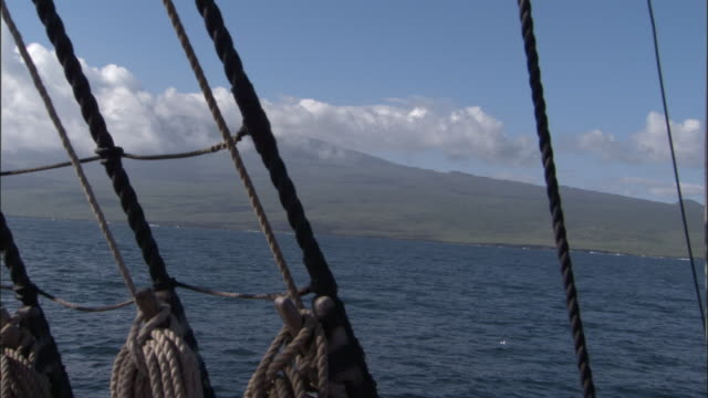 Galapagos islands seen from replica of HMS Endeavour.