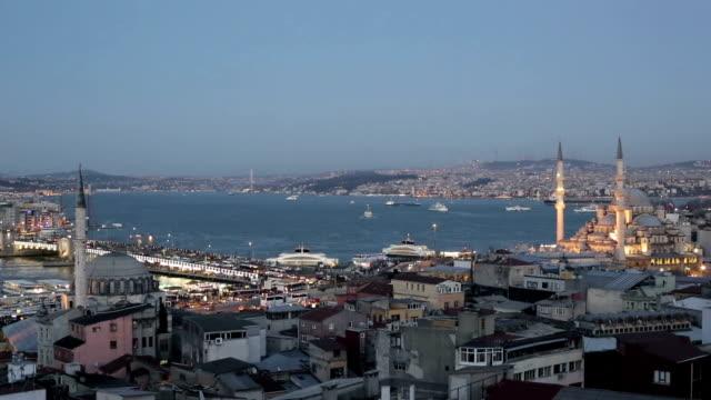 galata bridge and bosphorus - yeni cami mosque stock videos & royalty-free footage