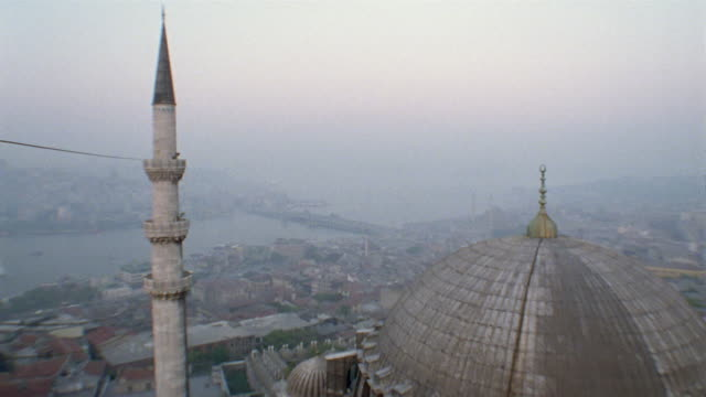 ws galata bridge and foggy horizon/ td ha ms suleymaniye mosque/ istanbul - suleymaniye mosque stock videos and b-roll footage
