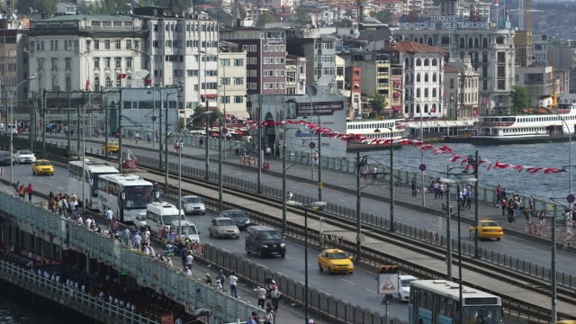 galata bridge & boats - wiese stock videos & royalty-free footage