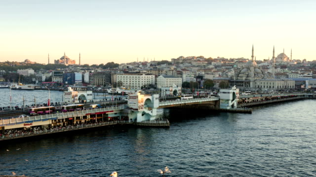 TIME LAPSE: Galata Bridge Istanbul aerial view sunset