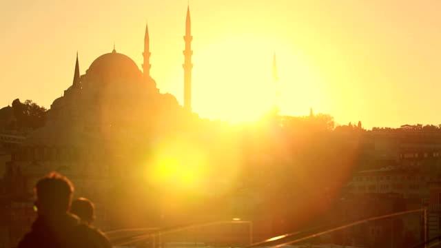 hd: galata bridge - suleymaniye mosque stock videos and b-roll footage