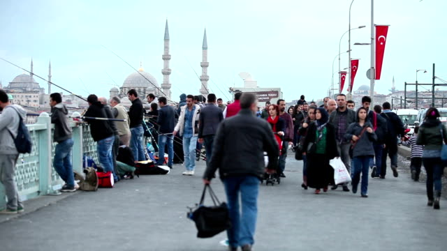 hd: galata bridge - yeni cami mosque stock videos and b-roll footage
