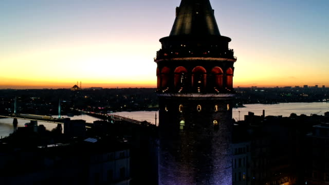 galata tower and golden horn - golden horn istanbul stock videos and b-roll footage