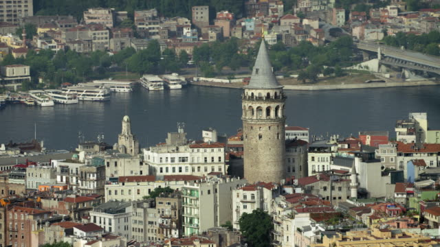 galata tower with istanbul bridges - golden horn istanbul stock videos and b-roll footage