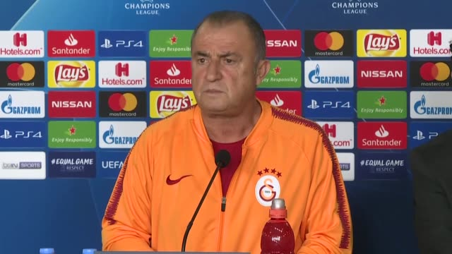 galatasaray head coach fatih terim speaks at a press conference at florya metin oktay sports facilities in istanbul turkey on october 23 2018... - uefa champions league stock videos and b-roll footage