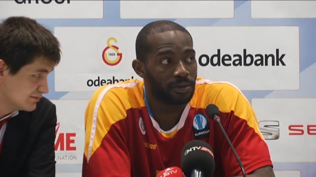 Galatasaray Odeabank's forward Stephane Lasme speaks during a press conference after the EuroCup Basketball Finals Game 2 between Galatasaray...
