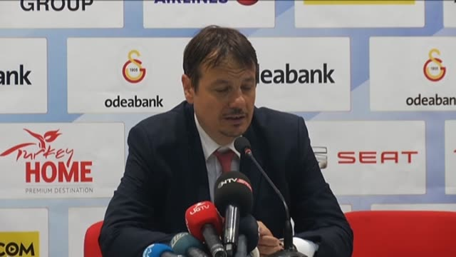 Galatasaray Odeabank's head coach Ergin Ataman speaks during a press conference after the EuroCup Basketball Finals Game 2 between Galatasaray...