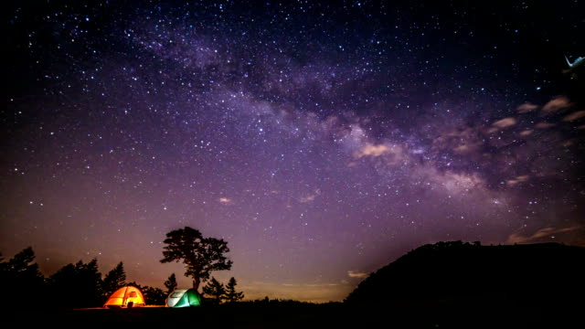 galaxy and illuminating tents at gwinemi village in taebaek - camping stock videos & royalty-free footage