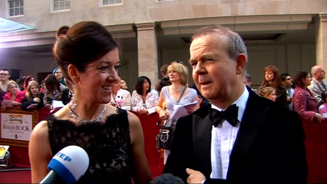 galaxy british book awards 2009; victoria hislop and ian hislop interview sot - great night - come back to support winners - jokes about obama book -... - ian hislop stock videos & royalty-free footage