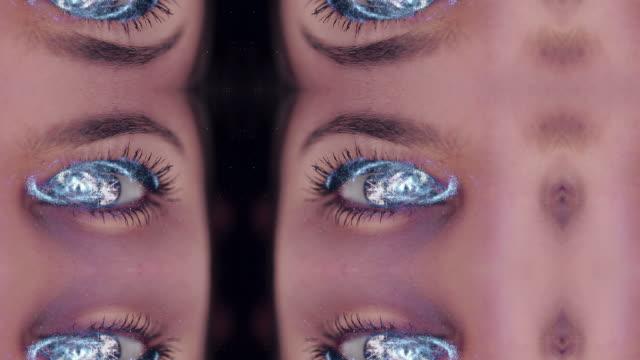 Galaxy, Nebula Space Background Inside of a Woman's Eye
