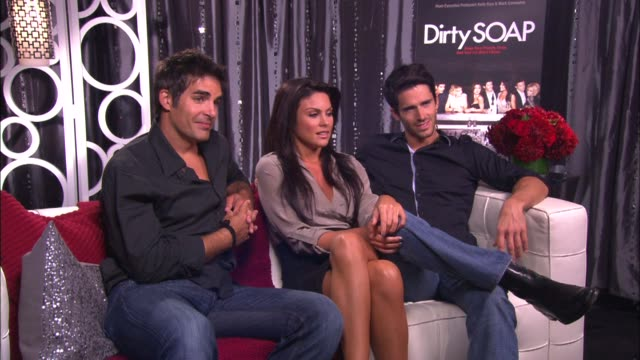 galen gering nadia bjorlin and brandon beemer on if their have been any funny moments while shooting this show - nadia bjorlin stock videos & royalty-free footage