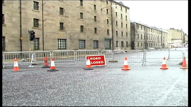 gales cause damage across country scotland edinburgh ext gvs charred remains of burned out primary school bv fire fighters hosing down smouldering... - burnt stock videos & royalty-free footage