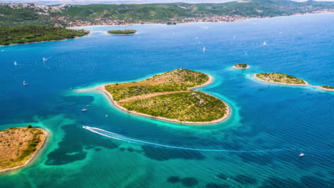 aerial: galesnjak island in croatia - island stock videos & royalty-free footage