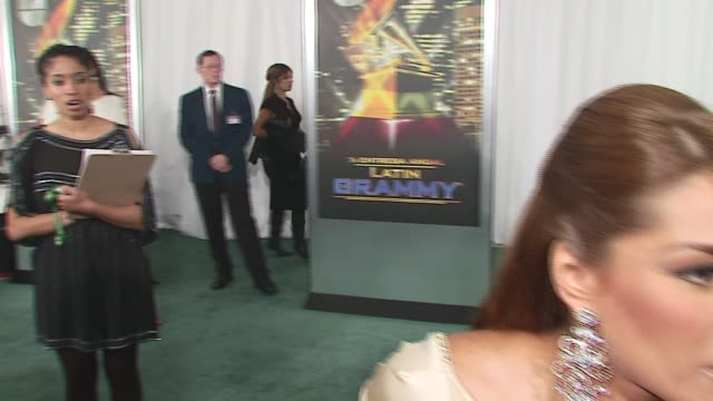 galilea/ tv host she wears roberto cavalli she talks about why new york is a great place for the latin grammys at the 2006 latin grammy awards at msg... - roberto cavalli stock videos and b-roll footage